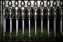 Gothic columns in Villa Rufolo, whose last resident was Richard Wagner, Ravello. Amalfi Coast, Campania, Italy ( color)