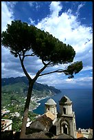 Spectacular view on the Gulf from the terraces of Villa Rufulo, Ravello. Amalfi Coast, Campania, Italy (color)
