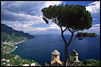 Mediterranean seen from the terraces of Villa Rufulo, Ravello. Amalfi Coast, Campania, Italy (color)