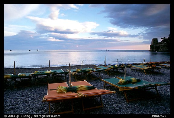 Beach chairs at sunset, Positano. Amalfi Coast, Campania, Italy (color)