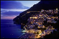 Lights on Positano. Amalfi Coast, Campania, Italy (color)