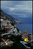 Positano and Mediterranean  at dusk. Amalfi Coast, Campania, Italy