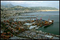 Salerno, with its industrial port in the foreground. Amalfi Coast, Campania, Italy (color)