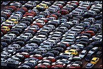 Rows of cars in transit at Salerno port. Amalfi Coast, Campania, Italy (color)