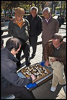 Pensioners gathering to play game of go. Seoul, South Korea (color)