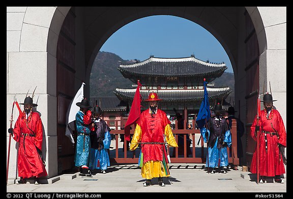 Gate guards and palace, Gyeongbokgung. Seoul, South Korea (color)