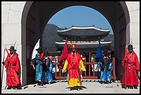 Gate guards and palace, Gyeongbokgung. Seoul, South Korea ( color)