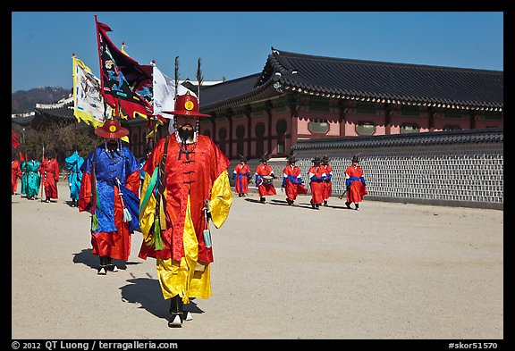 Royal guards marching, Gyeongbokgung palace. Seoul, South Korea