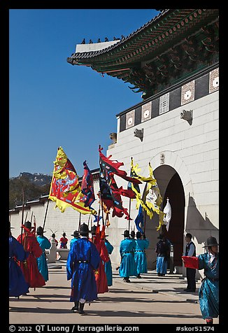 Guard change ceremony in front of Gyeongbokgung palace gate. Seoul, South Korea (color)