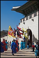 Guard change ceremony in front of Gyeongbokgung palace gate. Seoul, South Korea ( color)