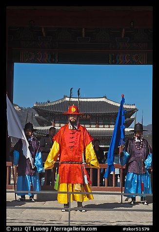 Joseon guards and Gyeongbokgung palace. Seoul, South Korea (color)