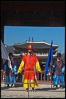 Joseon guards and Gyeongbokgung palace. Seoul, South Korea ( color)