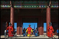 Guards at Heugnyemun gate, Gyeongbokgung. Seoul, South Korea (color)