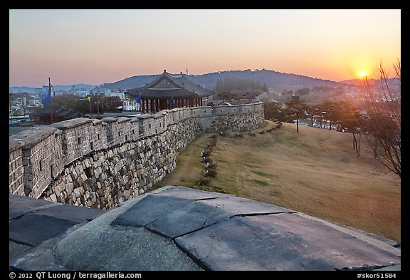 Sunset from Hwaseong Fortress walls. South Korea (color)