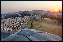 Sunset from Hwaseong Fortress walls. South Korea