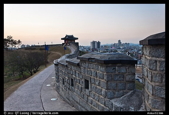 Inside Suwon Hwaseong Fortress wall. South Korea (color)