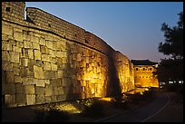 Outside Suwon Hwaseong Fortress wall at dusk. South Korea