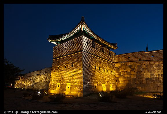 Suwon Hwaseong Fortress tower at night. South Korea (color)