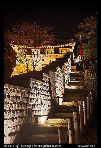Steep section of wall at night, Namchi, Suwon Hwaseong Fortress. South Korea