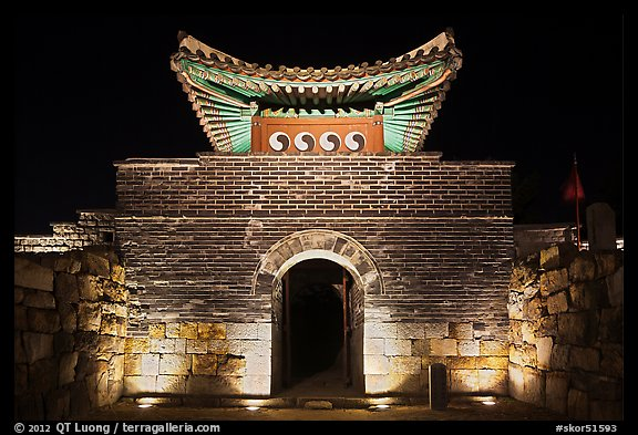 Seonamammun gate by night, Suwon Hwaseong Fortress. South Korea