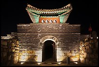 Seonamammun gate by night, Suwon Hwaseong Fortress. South Korea (color)