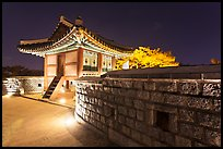 Seoporu (western sentry post) at night, Suwon Hwaseong Fortress. South Korea