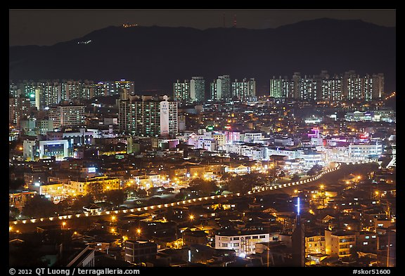 Elevated view of city at night, Suwon. South Korea (color)