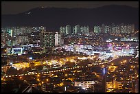 Elevated view of city at night, Suwon. South Korea ( color)
