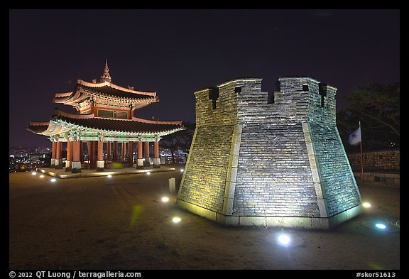Crossbow tower and command post at night,  city lights, Suwon. South Korea (color)
