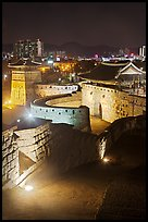 Hwaseomun gate at night, Suwon Hwaseong Fortress. South Korea (color)