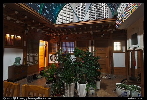 Common space of Hanok-style hostel. Seoul, South Korea (color)