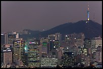 City skyline and Namsan hill at night. Seoul, South Korea ( color)