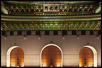 Facade of Gyeongbokgung gate at night. Seoul, South Korea ( color)