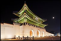 Gyeongbokgung gate and moon. Seoul, South Korea (color)