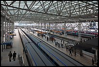Trains in Seoul station. Seoul, South Korea (color)