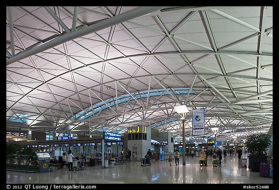 Incheon international airport main concourse. South Korea (color)