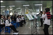 Music concert in subway. Daegu, South Korea ( color)