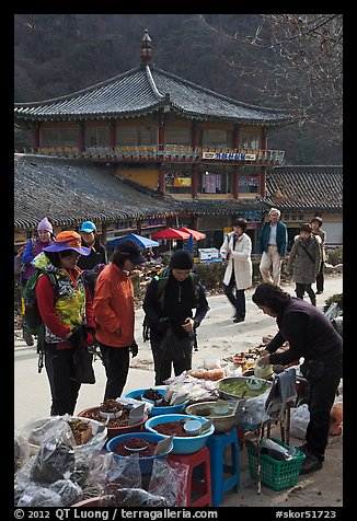 Hikers buy natural products near Haeinsa. South Korea (color)