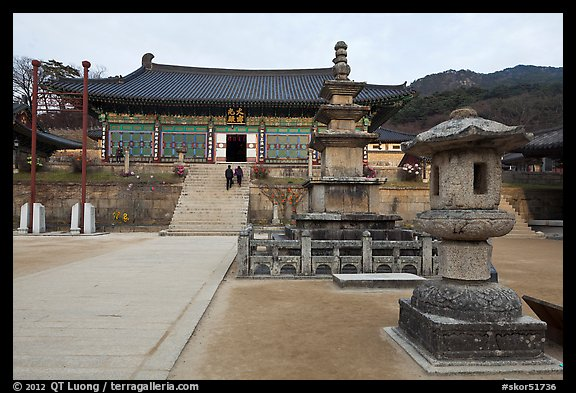 Three-story stone pagoda and main hall, Haeinsa Temple. South Korea (color)