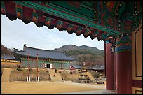 Haeinsa Temple framed by entrance gate. South Korea