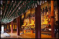 Interior of main hall, Haein-sa Temple. South Korea