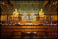 Interior of side hall, Haeinsa Temple. South Korea