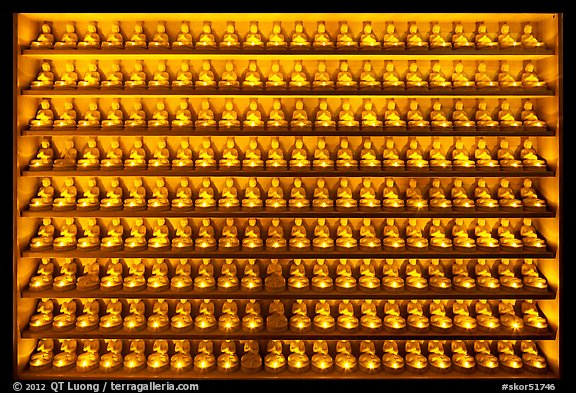 Array of buddha statues, Haein-sa Temple. South Korea (color)