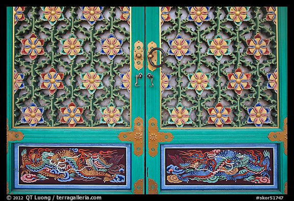 Intricate door decor, Haeinsa Temple. South Korea (color)