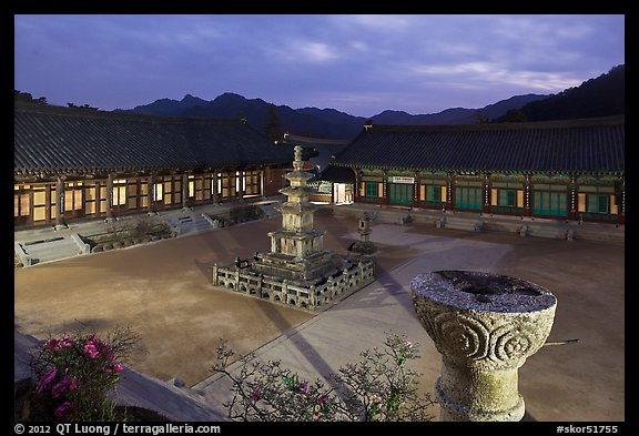 Stone pagoda and courtyard at dusk, Haeinsa Temple. South Korea