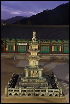 Stone pagoda at dusk, Haeinsa Temple. South Korea ( color)