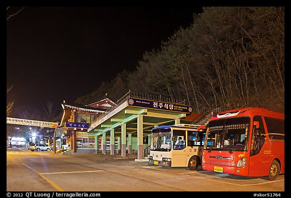 Bus station near Haeinsa at night. South Korea (color)