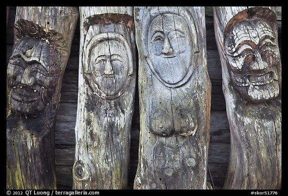 Sculptures on wood stems. Hahoe Folk Village, South Korea (color)