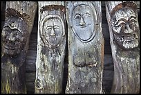 Sculptures on wood stems. Hahoe Folk Village, South Korea