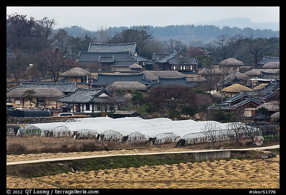 Fields, greenhouses, and village. Hahoe Folk Village, South Korea (color)
